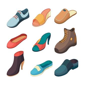 Scarpe isometriche. la scarpa del piede di modo calza la raccolta dei vestiti delle pantofole dei sandali isolata