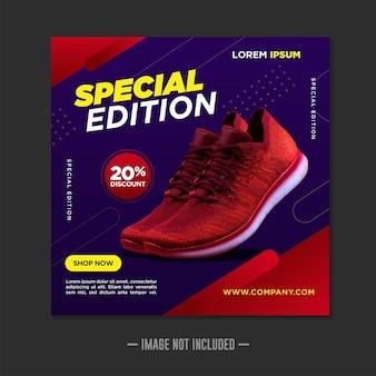 Modello di banner di social media di scarpe