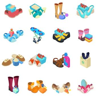 Set di icone di lustrascarpe
