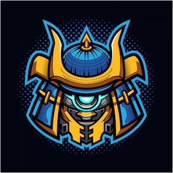 Logo della mascotte testa di robot shogun