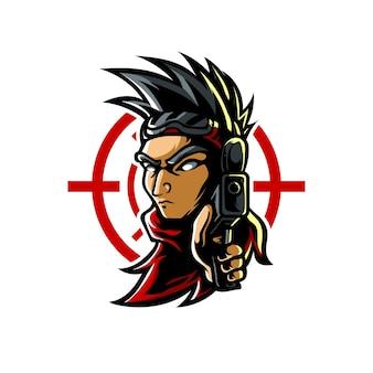 Logo della mascotte di shooter e sport