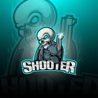 Logo della mascotte esportatore sparatutto Vettore Premium
