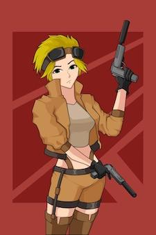 Design del personaggio della ragazza sparatutto