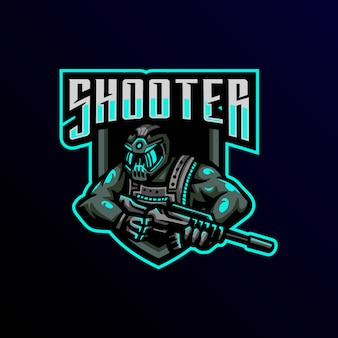 Sparatutto mascotte logo esport gioco. Vettore Premium