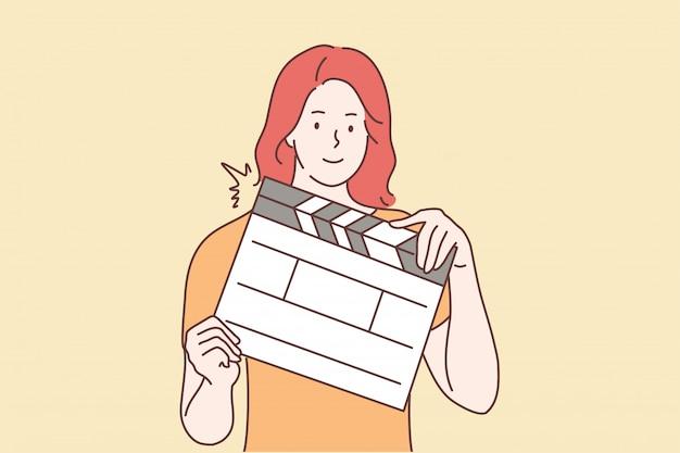 Riprese, film, concetto di assistenza