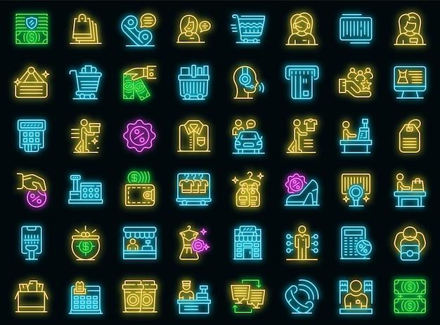 Set di icone di assistente di negozio. contorno set di icone vettoriali assistente di negozio colore neon su nero