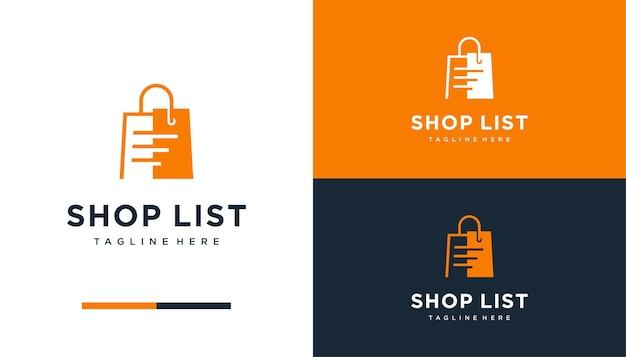 Shop bag con modello di progettazione logo listpaper