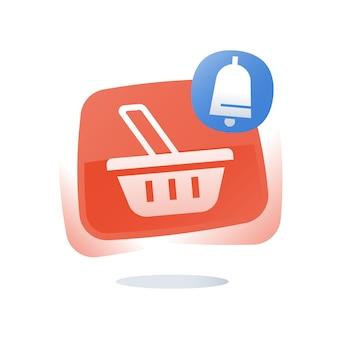 Cestino del negozio, concetto di carrello abbandonato, pulsante dello shopping online