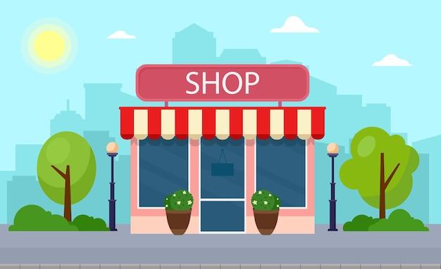 Facciata dell'edificio del negozio nell'illustrazione di paesaggio urbano Vettore Premium