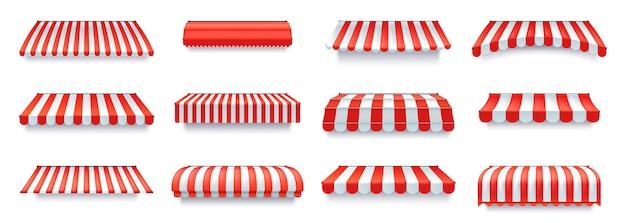 Baldacchino del negozio con strisce rosse e bianche