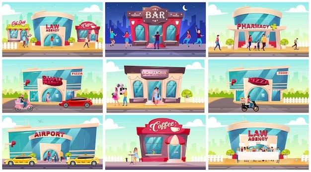 Set di illustrazioni a colori piatti per vetrine