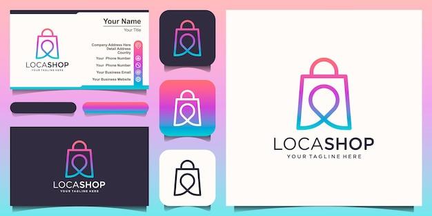 Posizione del negozio logo design modello, borsa combinata con mappe pin.