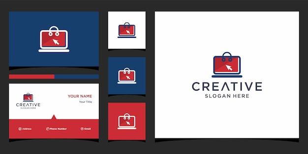 Design del logo del negozio con modello di biglietto da visita