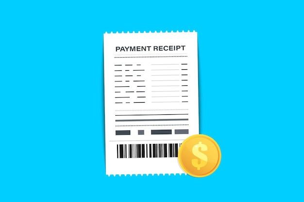 Scontrino del negozio con codice a barre. assegno cartaceo, ricevute e assegno finanziario. segno di fattura. una ricevuta la vendita di beni o la fornitura di un servizio. il concetto di ricevere un assegno sul pagamento