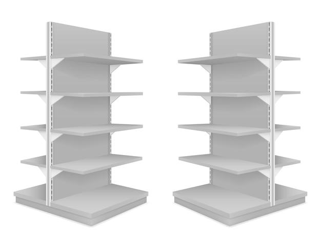 Illustrazione di scaffali del negozio isolato su priorità bassa bianca