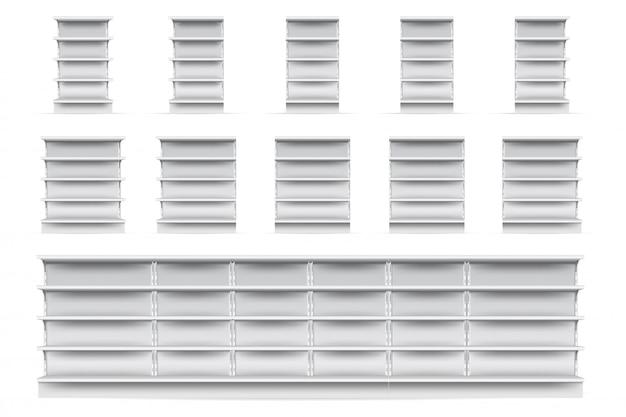 Set di scaffali per negozi. svuotare il negozio del supermercato vetrina collezione icona scaffale. vista frontale bianca realistica in bianco degli scaffali di esposizione del negozio al dettaglio. concetto di mercato e business