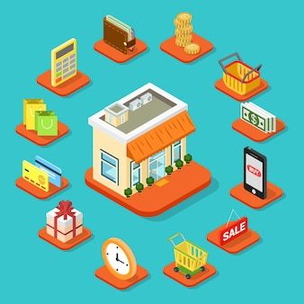 Negozio negozio edificio infografica set di icone flat d stile isometrico