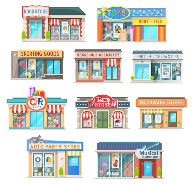 Negozio e negozio edificio isolato icone di architettura di vendita al dettaglio