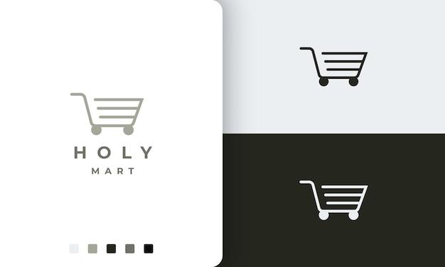 Modello logo negozio o carrello con forma semplice