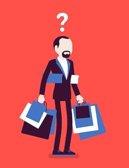 Uomo maniaco dello shopping che compra troppo