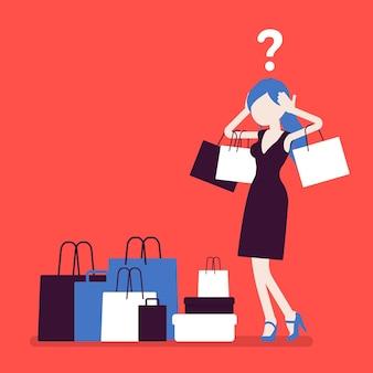 Donna maniaca dello shopping che compra troppo