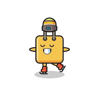 Cartone animato borsa della spesa come un giocatore di pattinaggio sul ghiaccio che si esibisce, design in stile carino per maglietta, adesivo, elemento logo
