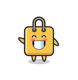 Personaggio dei cartoni animati della borsa della spesa che fa il gesto della mano con l'onda, design in stile carino per maglietta, adesivo, elemento logo