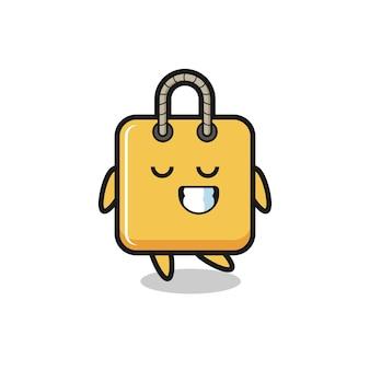 Illustrazione del fumetto della borsa della spesa con un'espressione timida, design in stile carino per maglietta, adesivo, elemento logo