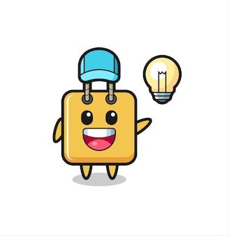 Fumetto del personaggio della borsa della spesa che ottiene l'idea, design in stile carino per t-shirt, adesivo, elemento logo