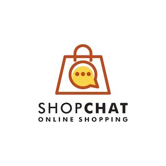 Borsa della spesa chat logo design negozio icona vettore