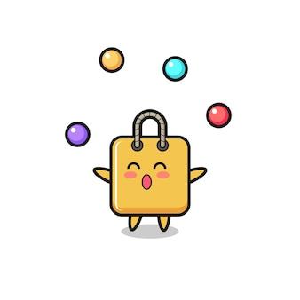 Il fumetto del circo della borsa della spesa che si destreggia con una palla, design in stile carino per maglietta, adesivo, elemento logo