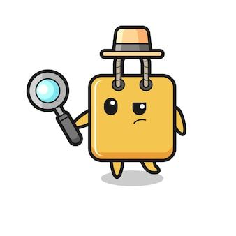 Il personaggio detective della borsa della spesa sta analizzando una custodia, un design in stile carino per maglietta, adesivo, elemento logo