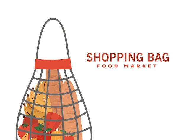 Borsa della spesa mercato alimentare e borsa a rete piena di prodotti di mercato