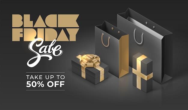 Shopping bag e scatole regalo. banner di vendita del black friday con tipografia scritta a mano.