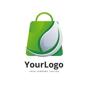 Modello di logo sfumato per borsa della spesa