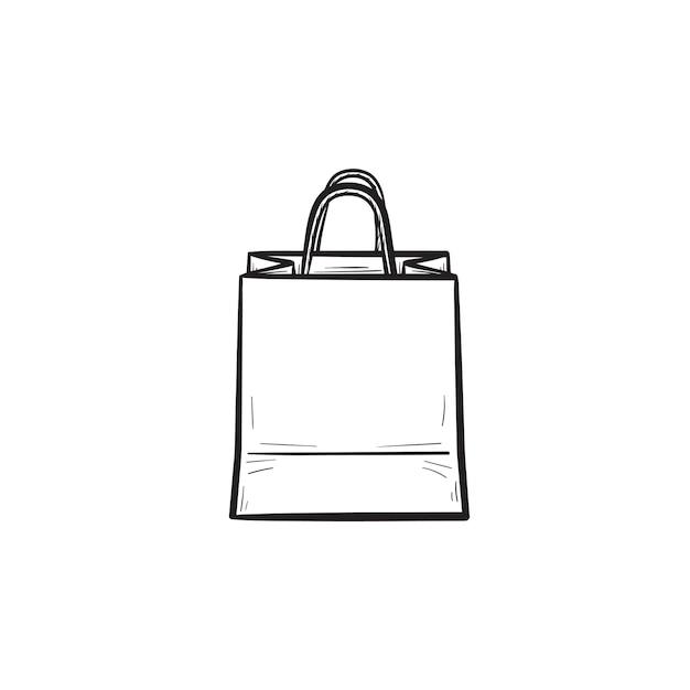 Icona di doodle di contorni disegnati a mano borsa della spesa