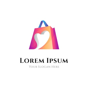 Combinazione del logo della borsa della spesa con la forma del cuore o dell'amore