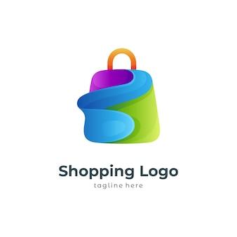 Modello di progettazione del logo della borsa della spesa