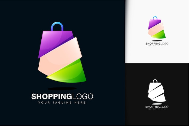 Design del logo della borsa della spesa con sfumatura