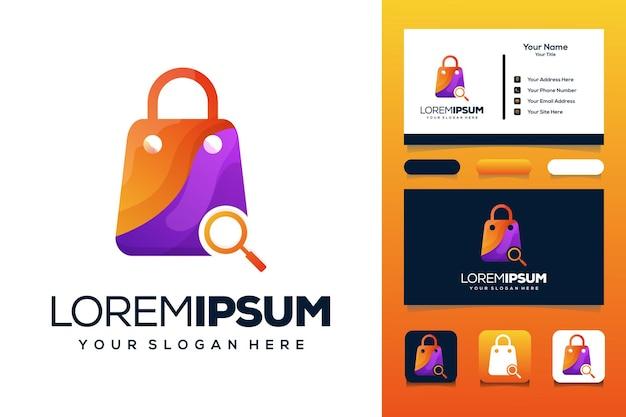 Modello di logo di design del logo dell'icona della lente d'ingrandimento della borsa della spesa