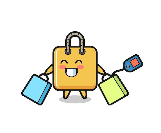 Cartone animato mascotte borsa della spesa che tiene una borsa della spesa, design in stile carino per maglietta, adesivo, elemento logo