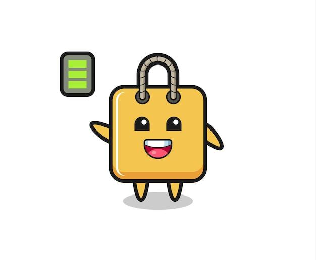 Personaggio mascotte borsa della spesa con gesto energico, design in stile carino per t-shirt, adesivo, elemento logo