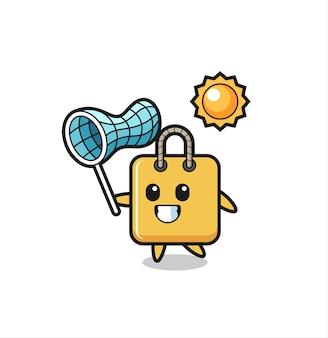 L'illustrazione della mascotte della borsa della spesa sta catturando la farfalla, il design in stile carino per la maglietta, l'adesivo, l'elemento del logo