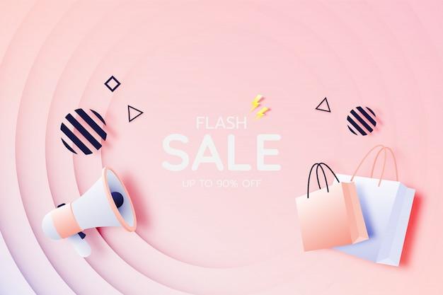 Shopping bag e megafono in vendita banner
