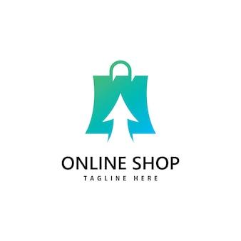 Logo del negozio di borsa della spesa. design del logo per lo shopping online