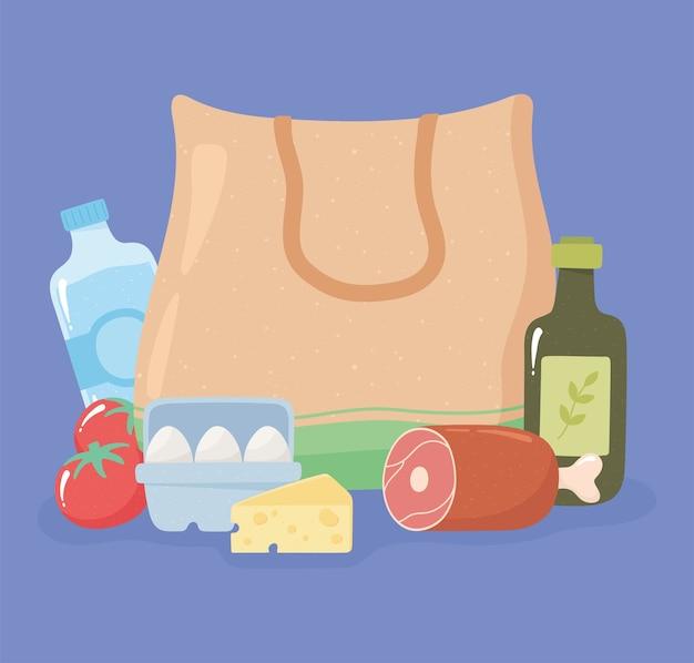 Shopping bag in tessuto con coscia di prosciutto, olio d'oliva, uova, formaggio, acquisti di generi alimentari