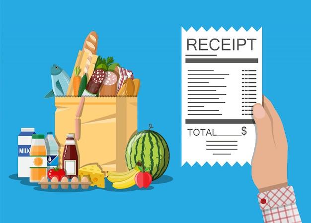 Borsa della spesa con cibo e bevande, ricevuta
