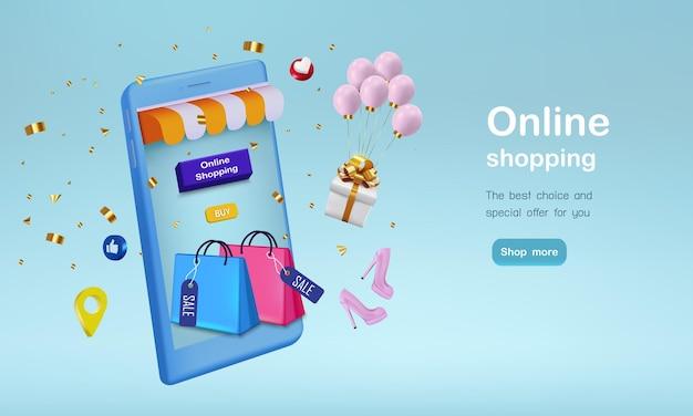 Borsa shopping con regalo e coriandoli per lo shopping online