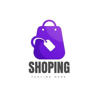 Borsa della spesa con modello di logo sfumato negozio online icona tag