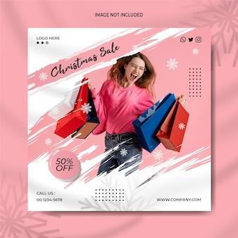 Borse della spesa vendita di natale instagram social media post banner modello promozione dello shopping